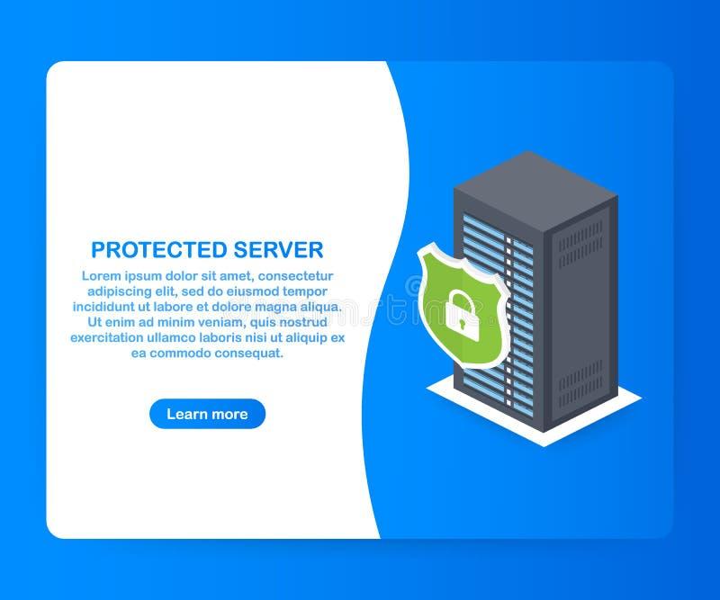 Servidor protegido Conceito isométrico da proteção do base de dados Cremalheira da sala do servidor, segurança do banco de dados, ilustração royalty free