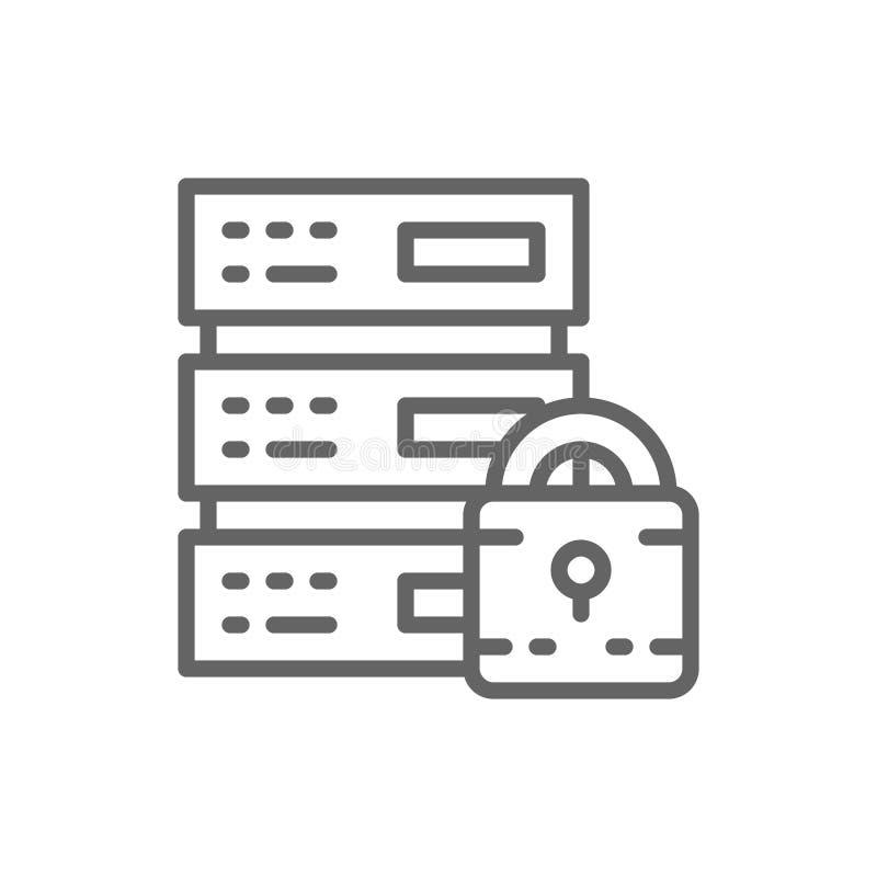 Servidor seguro, centro de datos protegido, web hosting, l?nea computacional icono de la nube ilustración del vector