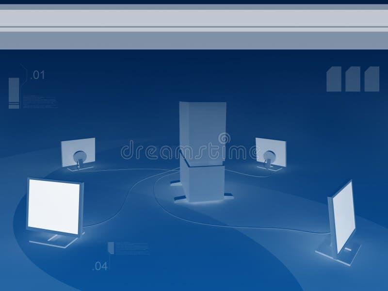 Servidor y cuatro monitores stock de ilustración