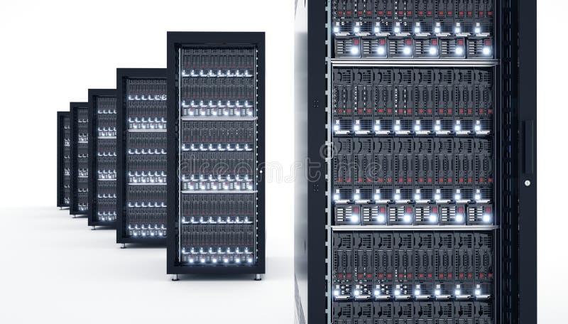 Servidores aislados en datacenter Almacenamiento de datos computacional de la nube 3d fotos de archivo libres de regalías