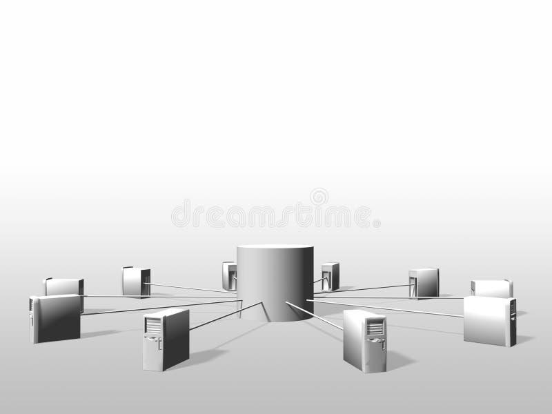 Servidores de datos, realidad vitual stock de ilustración