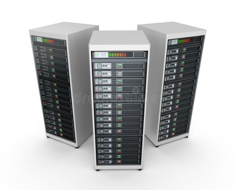 Servidores de red en centro de datos stock de ilustración