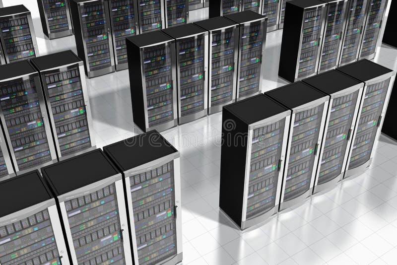 Servidores de red en datacenter stock de ilustración