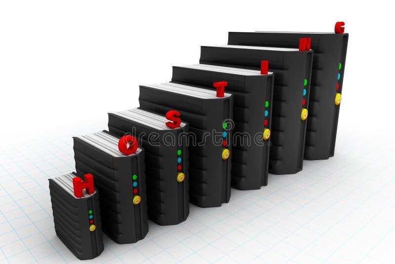 Servidores de red en el centro de datos i ilustración del vector