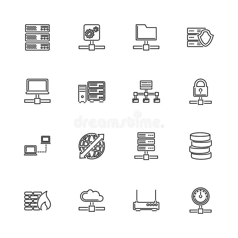 Servidores de red - línea plana iconos del vector ilustración del vector