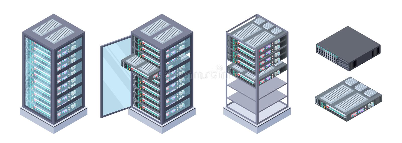 Servidores isométricos, vetor dos armazenamentos de dados  material informático 3D isolado no fundo branco ilustração royalty free