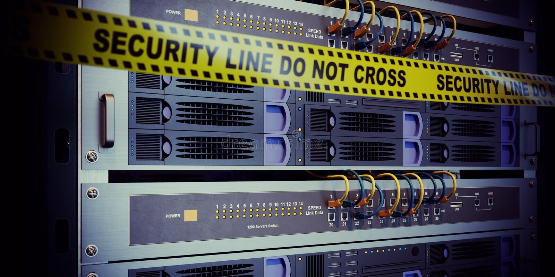 Servidores y concepto de la seguridad de la informática del sitio del hardware foto de archivo libre de regalías