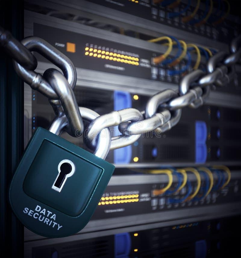 Servidores y concepto de la seguridad de la informática del sitio del hardware imágenes de archivo libres de regalías