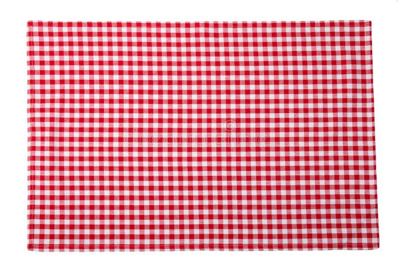 Serviette à carreaux rouge et blanche d'isolement sur le fond blanc images stock
