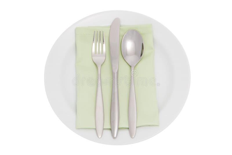 serviette плиты cutlery стоковое изображение