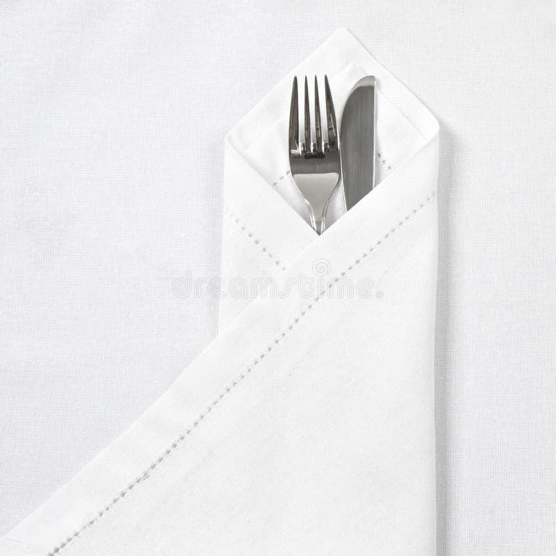 serviette полотна ножа вилки стоковые изображения