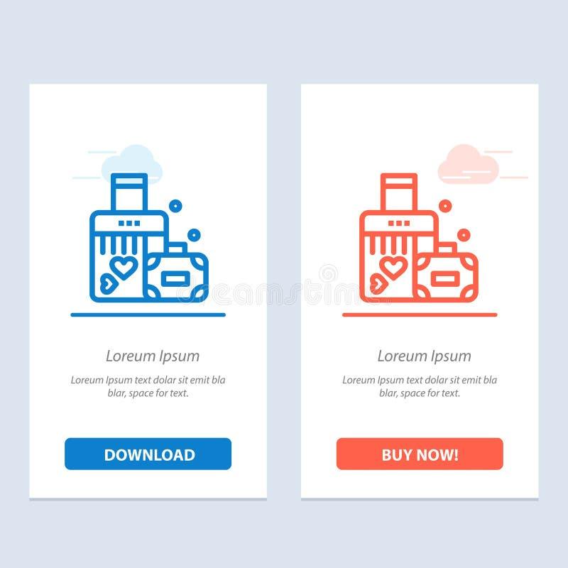 Serviette, amour, coeur, bleu de mariage et téléchargement rouge et acheter maintenant le calibre de carte de gadget de Web illustration libre de droits