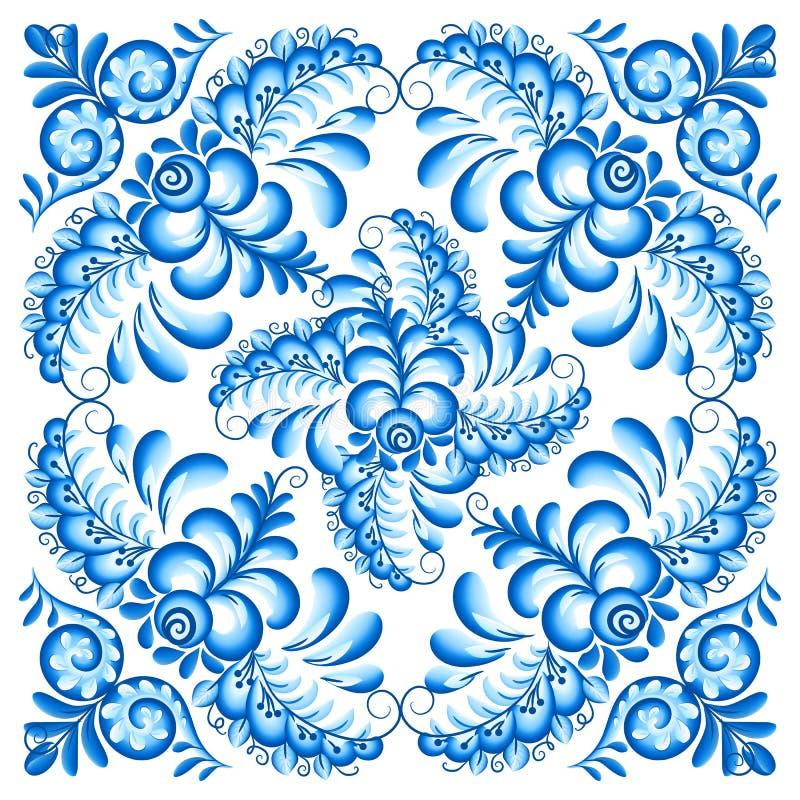 Serviette bleue de place de vecteur dans le style de Gzhel de Russe illustration libre de droits