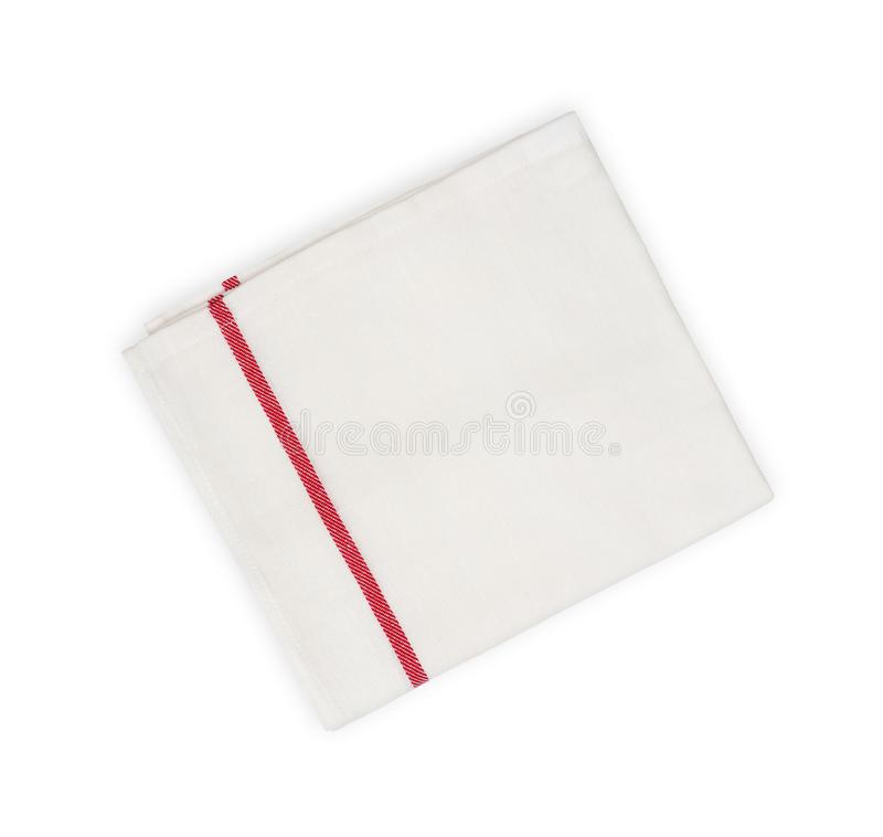 Serviette de cuisine avec la ligne rouge d'isolement sur le fond blanc images stock
