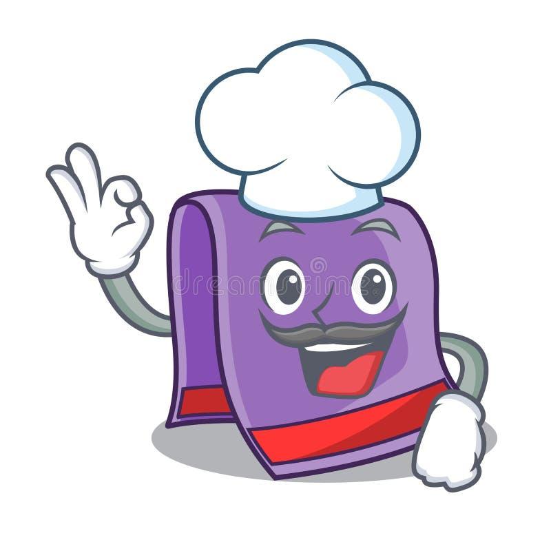 Serviette de cuisine de maison de bande dessinée de chef illustration stock