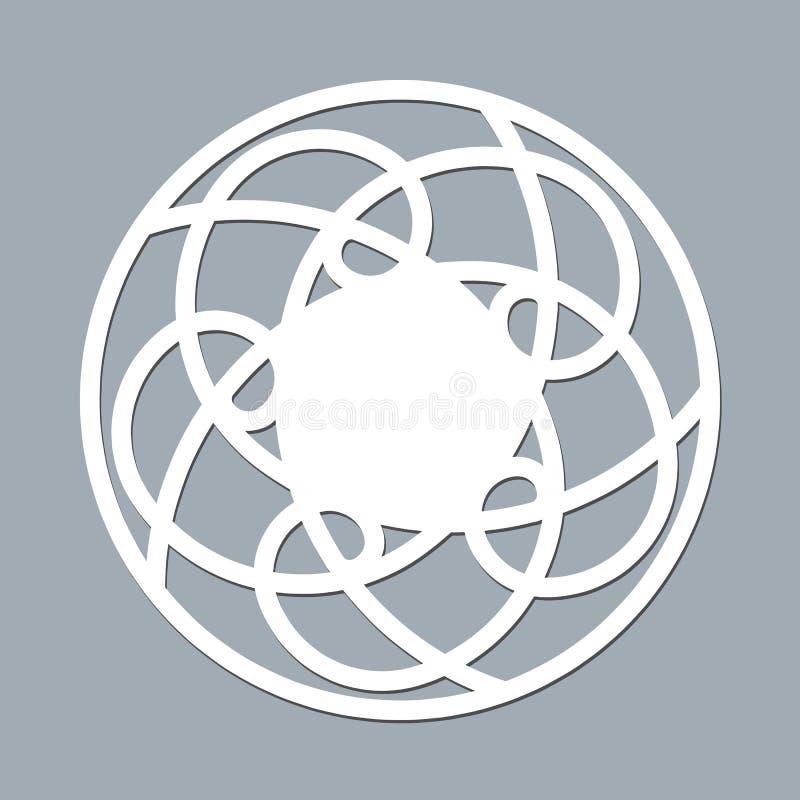 Serviette de dentelle de calibre de disposition pour le papier de laser coupant la maquette ronde d'ornement de modèle d'un cadre illustration de vecteur