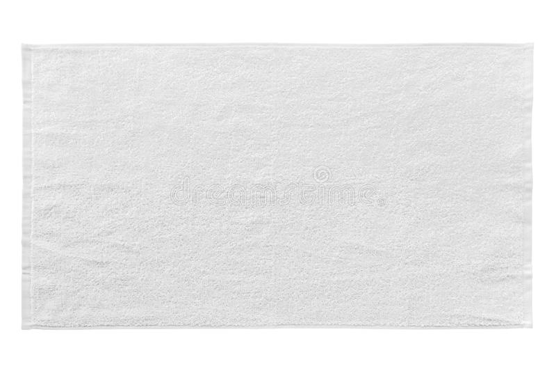 Serviette de plage blanche d'isolement sur le blanc images libres de droits