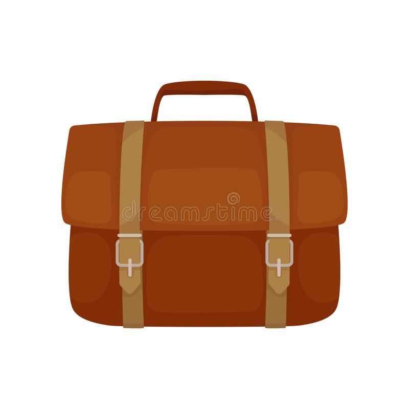 Serviette en cuir de Brown avec les ceintures et la petite poignée Sac rectangulaire d'affaires pour les documents de transport I illustration stock