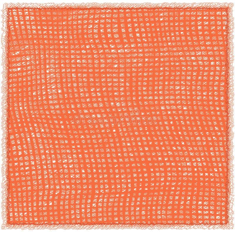 Serviette mit gesponnenem Schmutz streifte kariertes Muster und Franse in den orange Farben vektor abbildung