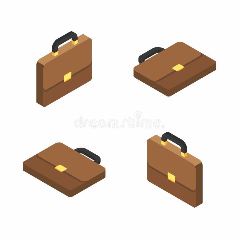 Serviette, sac, icône isométrique et plate illustration stock