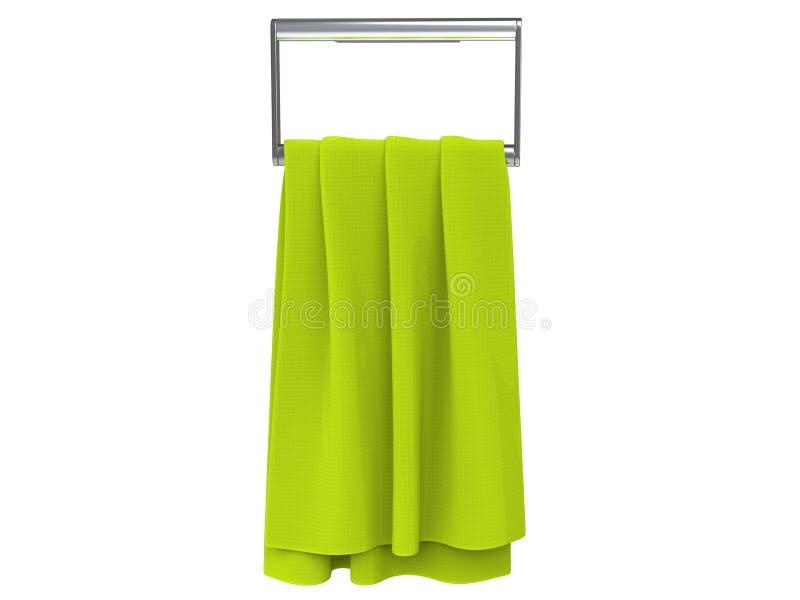 Serviette vert clair sur un cintre de serviette photos stock
