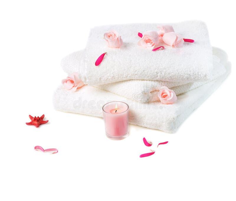 Station thermale avec les fleurs roses photographie stock