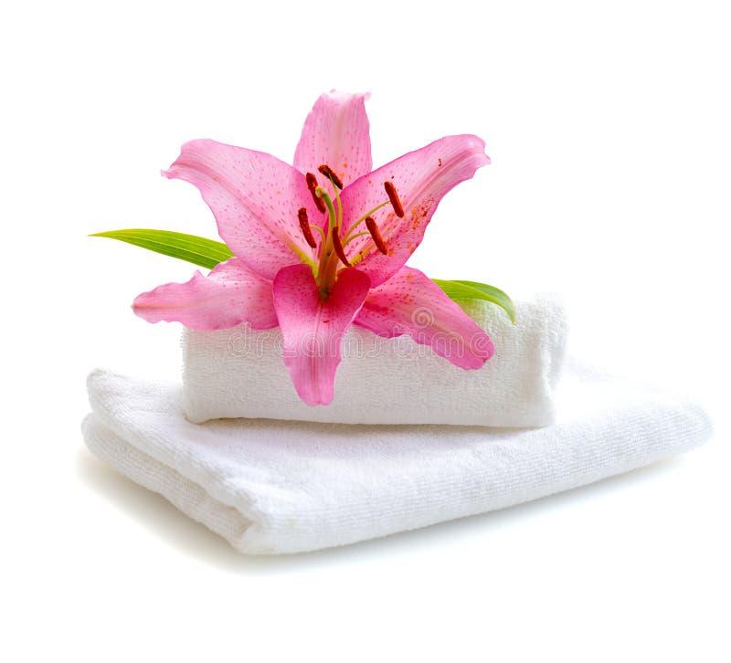 Serviettes blanches et fleur rose de lis image libre de droits