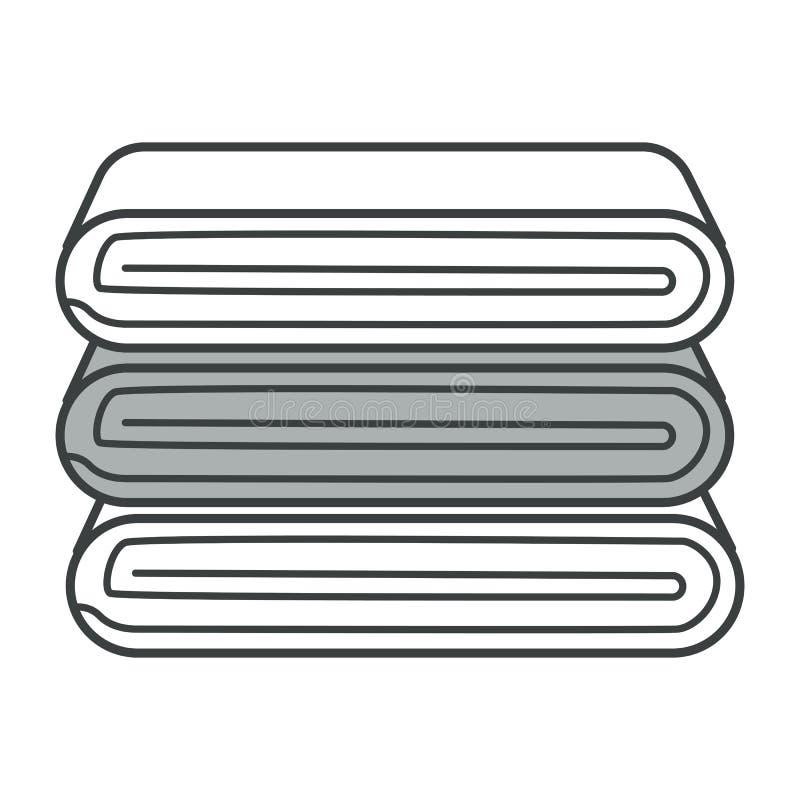 Serviettes de bain empilées ou cheminée de cuisine, icône isolée illustration libre de droits