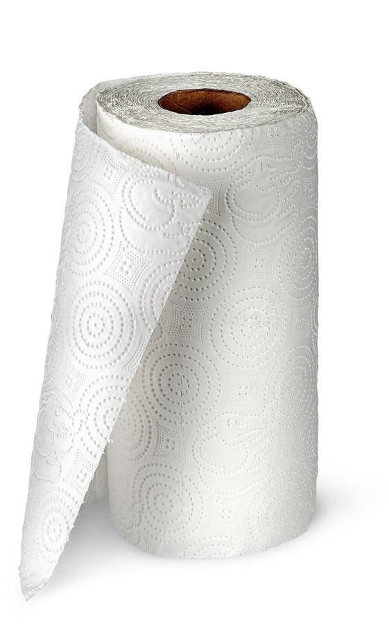 Serviettes de cuisine de papier déroulées verticalement photo stock