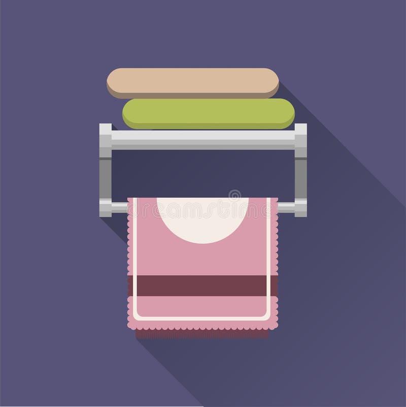 Serviettes sur un cintre en métal dans la salle de bains dans un style plat Les serviettes vertes et roses se trouvent et un rose illustration libre de droits