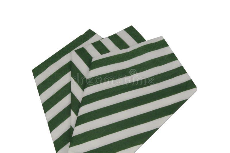 Serviettes vertes de papier rayé images libres de droits