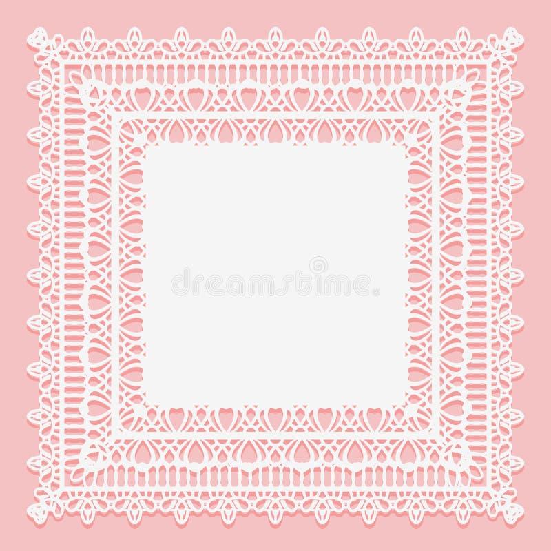 Servilleta cuadrada de encaje blanca aislada en un fondo rosado Marco a cielo abierto del cordón ilustración del vector
