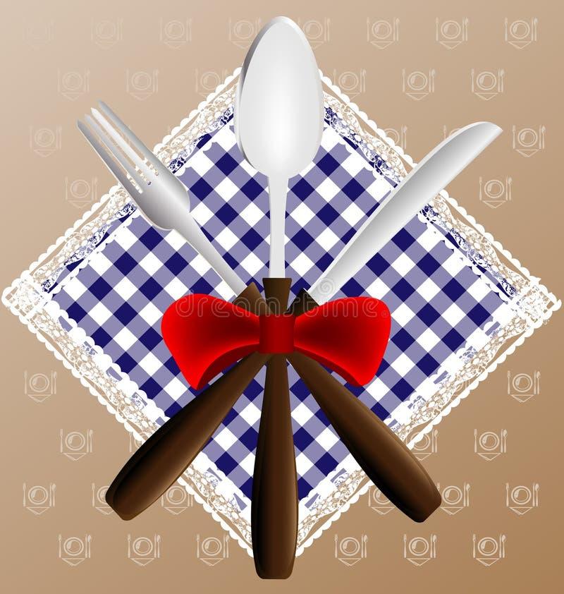 Servilleta, cuchara, cuchillo y fork stock de ilustración