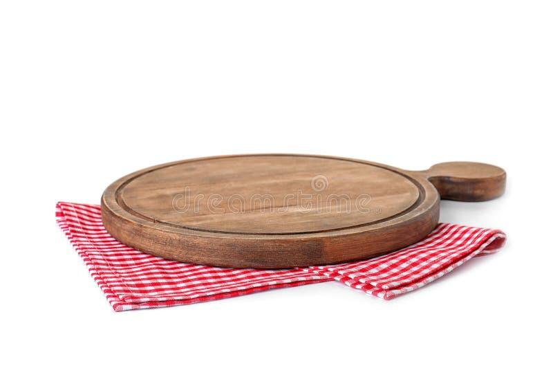 Servilleta de la tela con el tablero de madera en blanco fotos de archivo