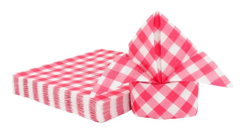 Servilletas de papel del modelo rojo de la guinga imagen de archivo