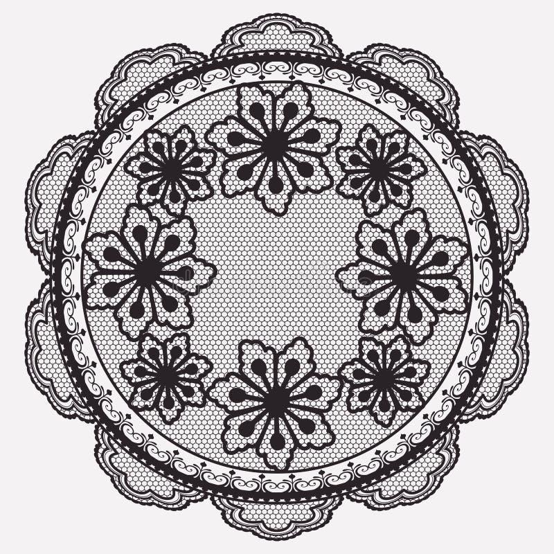 Servilletas florales del cordón redondo en silueta monocromática ilustración del vector