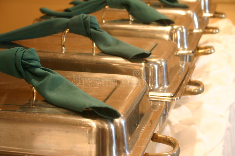 Serving Bins. At a catering Hall stock image