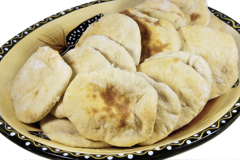 Serving Bowl Filled with Freshly Baked Pitta Bread royalty free stock images