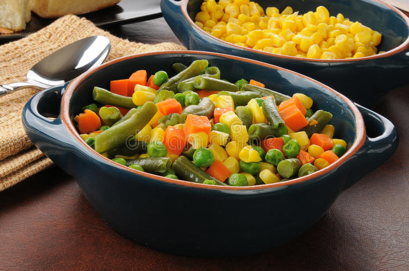 Serving Bowls Of Vegetables Royalty Free Stock Photography