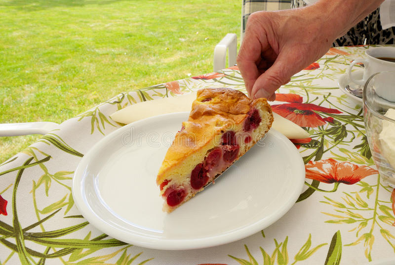 Serving cake in the garden 01 CP royalty free stock photo