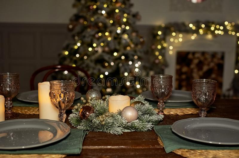 Serving Christmas buffet .A rustic, cosy style. Warm shades. stock photography