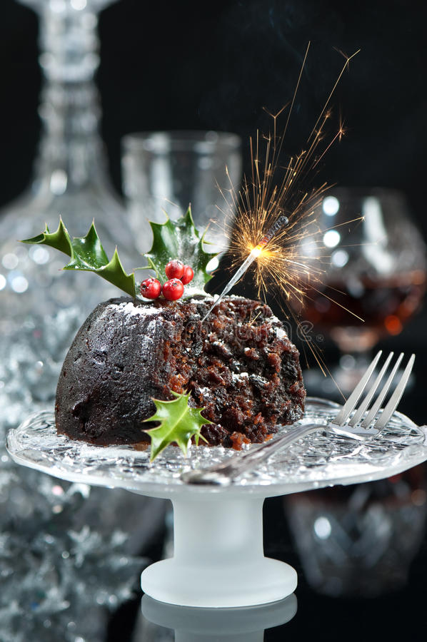 Serving Of Christmas Pudding royalty free stock image