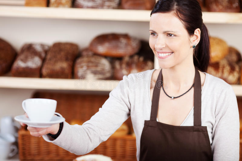 Download Serving Coffee In A Bakery Stock Photo - Image: 31370050