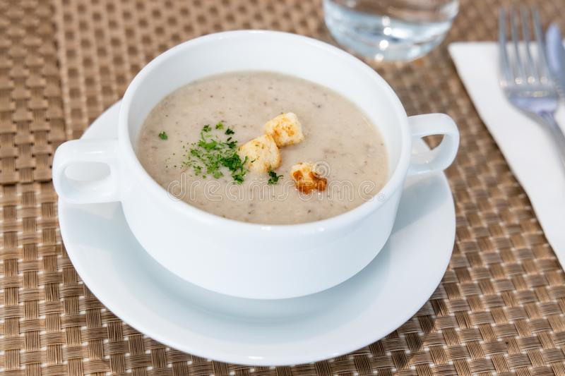 Serving of cream wild mushroom soup at restaurant royalty free stock photo