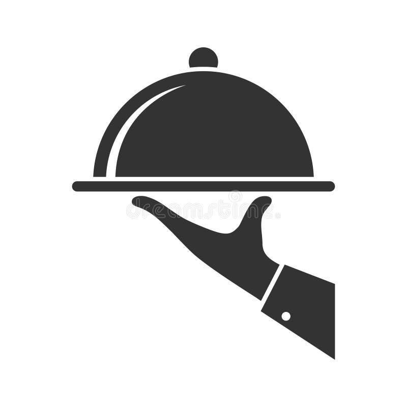Serving food icon. Symbol of service stock illustration