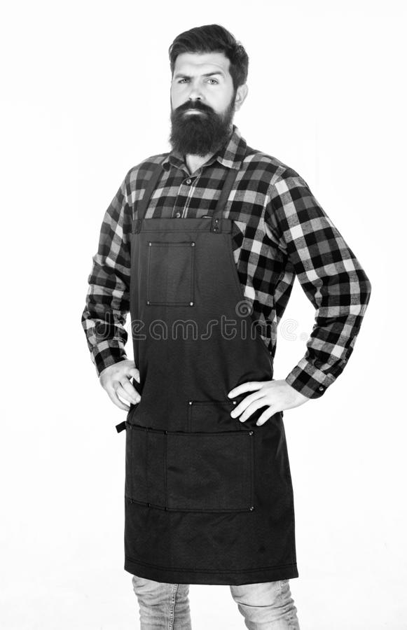 Serving at a hairdressers. Barber isolated on white. Bearded man wearing barber apron. Hipster in work apron with. Multiple pockets. Hair stylist in barber shop royalty free stock image