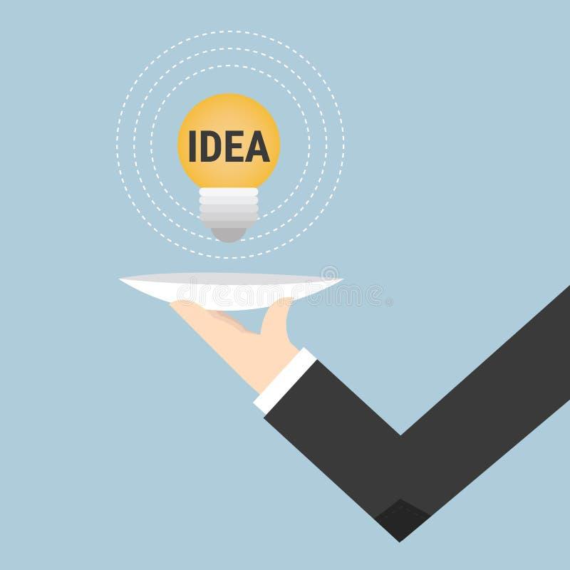 Serving idea light bulb, vector illustion flat design style. royalty free illustration