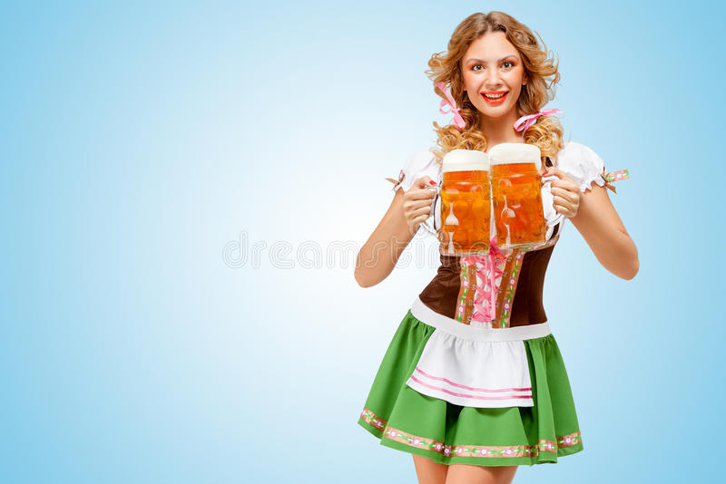 Serving with laugh. stock images