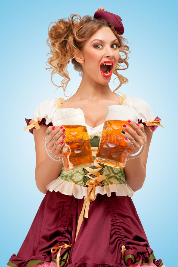Serving with laugh. royalty free stock image