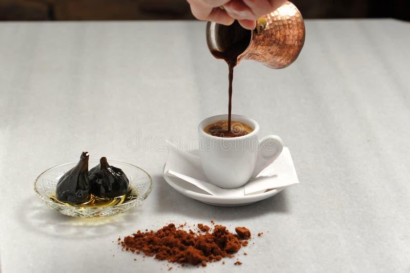 Serving original greek coffee stock images